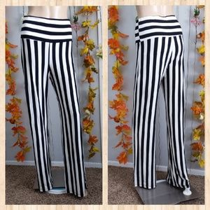 POETRY FLARED PANTS STRIPED HIGH WAISTED